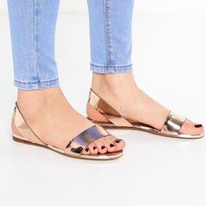aldo yoana rose gold metallic flat sandals sz 11